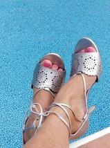 NINE WEST Silver Stiletto's Sexy ankle tie dress shoes heels size 9 NIB  - $25.71