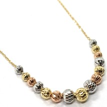 Gold necklace 750 18k yellow, white pink, faceted spheres, alternate image 2