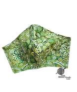 Lime Green Face Mask Batik Abstract Cotton Adjustable Fitted Facemask Ha... - $8.00