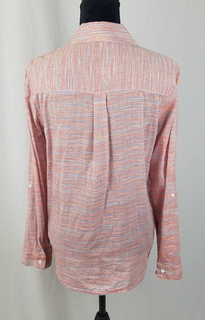 Splendid women M capri Henley button down shirt long sleeve blouse