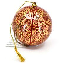 Asha Handicrafts Painted Papier-Mâché Red Gold Chinar Leaves Christmas Ornament image 3