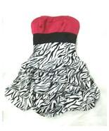 Ruby Rox Women Sz 5 Junior Dress Party Prom Strapless Hot Pink Zebra Bub... - $12.99