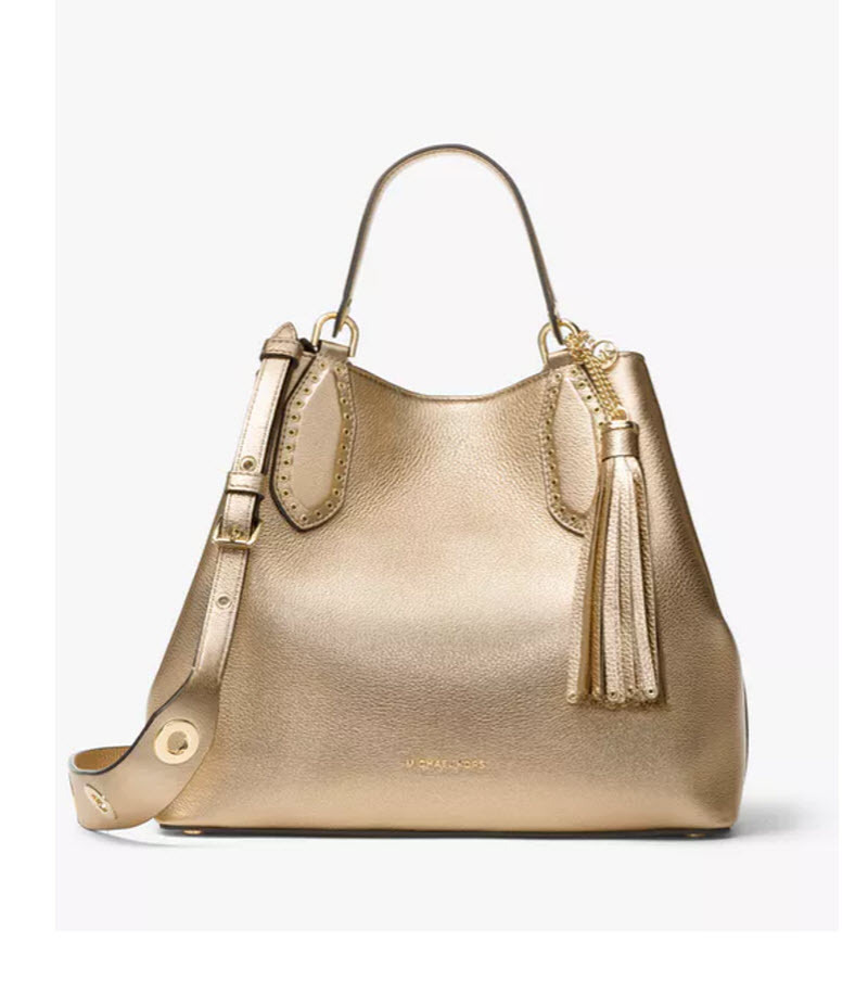 970a745b5e5b Brooklyn large metallic pale gold satchel 1. Brooklyn large metallic pale  gold satchel 1. Previous. Michael Kors Brooklyn Large Grab Bag crossbody  handbag ...