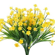 HOGADO Artificial Fake Flowers, 4pcs Faux Yellow Daffodils Greenery Shru... - $17.53 CAD
