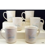 Corning Corelle Romance Mugs Cups Set of 6 Ivory White Flower Blue Leaves - $21.53