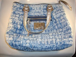 COACH POPPY GLAM DENIM TOTE/HANDBAG, EUC, FREE ... - $145.13