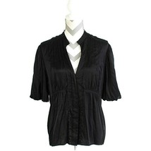 BCBG MaxAzria Babydoll Black Silk V-Neck Summer Top Size Large - $28.04