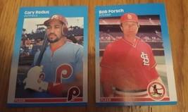 2 card lot 1987 Fleer Baseball Card #181 Gary Redus & #295 Bob Forsch - $1.00