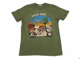 Junk Food USA Mens M Olive Green Peanuts Snoopy Woodstock Wild Ride Moto T-Shirt - $17.99
