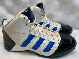 ADIDAS Basketball Sneakers Shoes Men's Size 9.5 White Black Blue gG8794 - $56.91