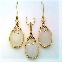 Rose Quartz Gold Wire Wrap Pendant Earring Set 18 - $60.00