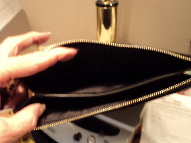Authentic Michael Kors Medium Gusset Wristlet Pierced Leather Black Gift Box NWT