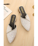 Crystals Flip Flop, Ivory Sequin Sandals, Holidays Shoes, Beach Shoe, Sl... - £39.09 GBP