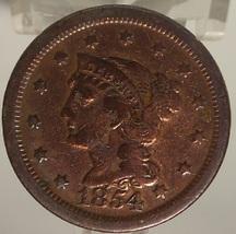 1854 Large Cent Braided Hair VF Details #0861 - $24.99