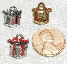 WRAPPED GIFT BOX FINE PEWTER PENDANT CHARM - 13mm L x 15mm W x 3mm D image 2