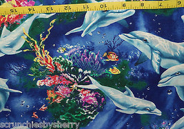 Dolphins Reef Timeless Treasures Royal Blue Sewing Craft Quilt Pillow Fa... - $24.95