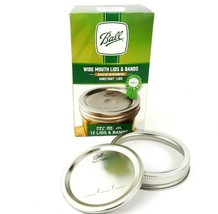One Box of 12 BALL WIDE MOUTH Lids w Band Rings for Mason Jar Canning Su... - $10.44