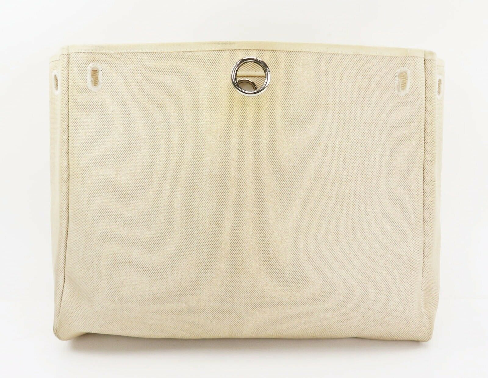 Auth HERMES Her Bag 2 in 1 Beige Canvas and Leather Hand Shoulder Bag #26110 image 11