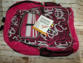 School Supply Girls Backpack Pink Black Wht 2 Compartments Padded Back &... - $12.57