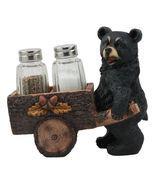 Black Bear Pushing Vintage Wagon Cart Salt And Pepper Shakers Holder #GFT02 - $46.17