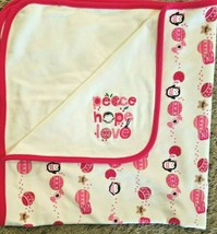 Gymboree Peace Hope Love Baby Blanket Christmas Penguin Ornaments Pink I... - $24.73