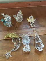 Estate Lot of 6 Clear Acrylic Plastic Snowman Angels Man in Moon Christm... - $15.79
