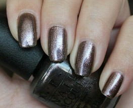 OPI Bond WORLD IS NOT ENOUGH Brown Gray w/ Pink Shimmer Nail Lacquer Pol... - $11.27