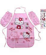 Hello Kitty 4 Piece Apron Set Sleeves Cuffs with Stickers Food-Water Res... - $10.56