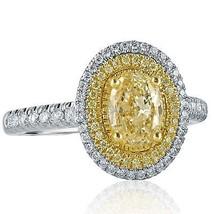 1.82 TCW Oval Cut Yellow Diamond Engagement Ring 18k White Gold - $3,266.01