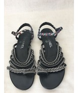CHANEL 15S Black Blue Tweed Leather Thongs Chain Toe Ring Sandals Shoes.... - $470.25