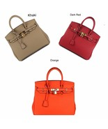 30cm Pebbled Leather Birkin Style Lock and Key Satchel Handbag Purse 1946M - $154.95