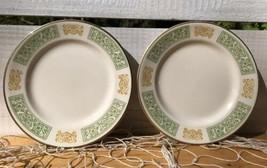 Homer Laughlin Pr Vintage Hearts Scrolls B&B Dessert Plates China USA Sage Gold - $17.24