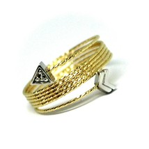 18K YELLOW WHITE GOLD MAGICWIRE MULTI WIRES RING, ELASTIC SNAKE, ARROW, TOPAZ image 2