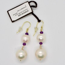 Yellow Gold Earrings 18k 750 pearls freshwater and Amethysts Made in Italy image 2