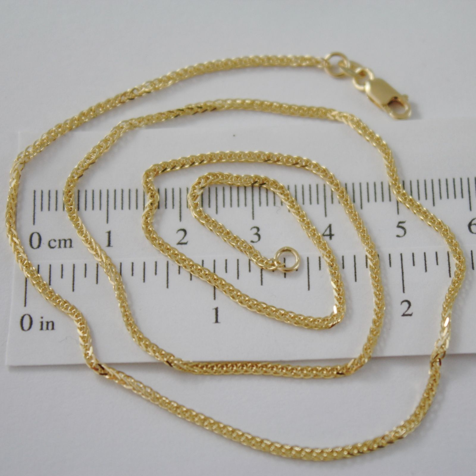 SOLID 18K YELLOW GOLD CHAIN NECKLACE 2MM EAR SQUARE MESH 15.75 IN, MADE IN ITALY