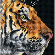 "Dimensions Mini Needlepoint Kit 5""X5""-Tiger Profile Stithced In Thread - $24.00"