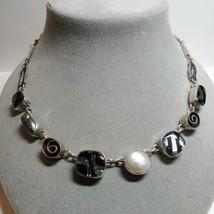 "Sterling Silver Artisan Dichroic Black Glass Pendant Toggle Clasp 17"" Ne... - $69.30"