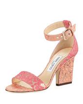 edbbfaeeaf2 Jimmy Choo Edina Floral Sandals, Flamingo Calypso MSRP: $695.00 Size 39 -  $470.25