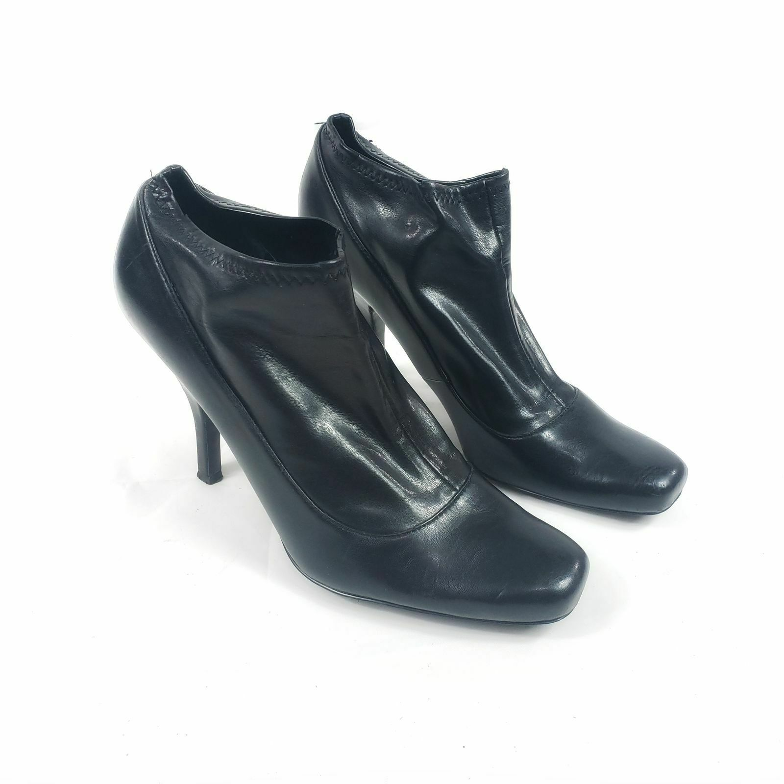 Nine West Sophisto Sexy Black Faux Leather Pump Ankle Booties Size 8.5 M - $20.00