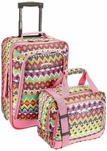 Travel 2 Piece Luggage Set for Airport, Bus & Car Trips Pink Tribal One ... - $79.19