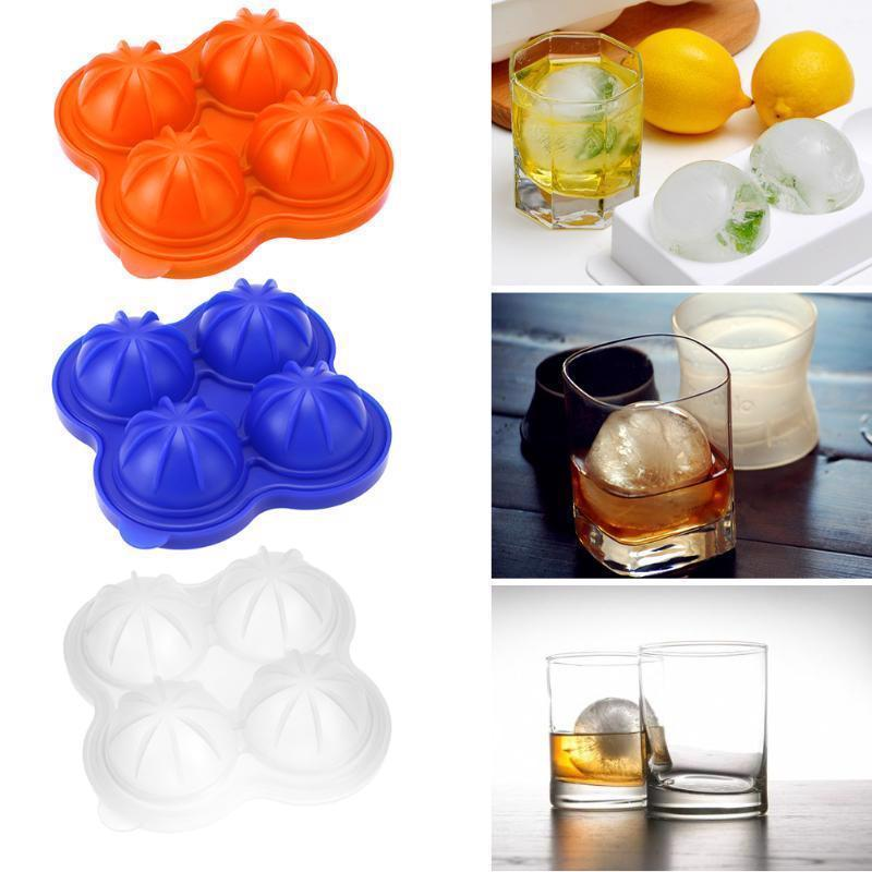 Whiskey Cocktail Ice Cube Ball Maker Mold 4 Large Silicone Ice Cream Tools