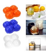 Whiskey Cocktail Ice Cube Ball Maker Mold 4 Large Silicone Ice Cream Tools - $4.94
