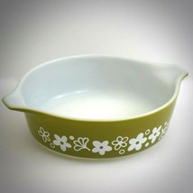 Vintage Pyrex 471 Pint Round Casserole Dish Spring Blossom Green Floral ... - $29.65