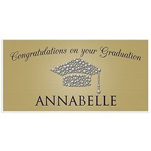 Class of 2018 Graduation Diamond Hat Gold Banner Personalized Backdrop - £16.88 GBP