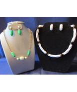 Two Vintage Avon Plastic Beaded Necklaces & Pierced Earrings Sets - 1975, 1988 - £11.51 GBP