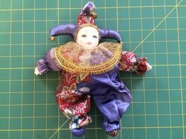 Porcelain Clown Doll Joker Jester Purple Small Vintage - $17.82