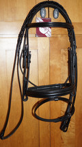 Bobby's COB Sz BLACK Padded MonoCrown Wide Flash Bridle w/Reins - $89.37