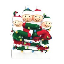 FAMILY OF 4 CHRISTMAS ORNAMENT TANGLED UP IN LIGHTS GIFT PRESENT HOLIDAY... - $9.85