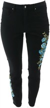 Martha Stewart Embroidered 5-Pocket Ankle Jeans Blk Blue Poppy 4 NEW A30... - $20.77