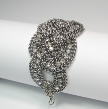 Statement Bracelet Chunky Silver And Rhinestones Womens Vintage Inspired - $29.00
